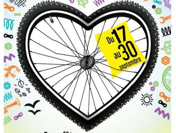visuel de la fête du vélo 2020 : une roue de vélo en forme de cœur